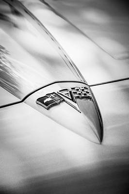 Photograph - 1964 Chevrolet Corvette Sting Ray Gm Styling Coupe Hood Emblem -0111bw by Jill Reger