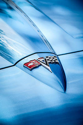 Photograph - 1964 Chevrolet Corvette Sting Ray Gm Styling Coupe Hood Emblem -0111c by Jill Reger