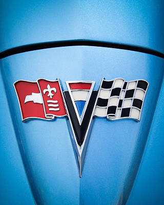 Photograph - 1964 Chevrolet Corvette Sting Ray Gm Styling Coupe Hood Emblem -0126c45 by Jill Reger
