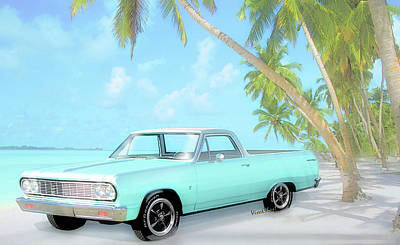 1964 Chevy El Camino 2nd Generation 1964-1967 Art Print by Chas Sinklier