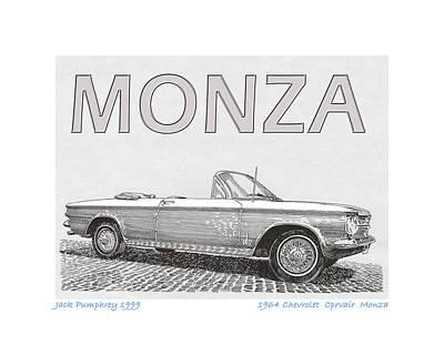 Chevrolet Truck Drawing - 1964 Corvair Monza Spyder by Jack Pumphrey