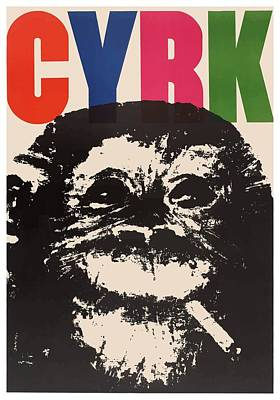 1964 Cyrk Smoking Chimpanzee Polish Circus Poster Art Print