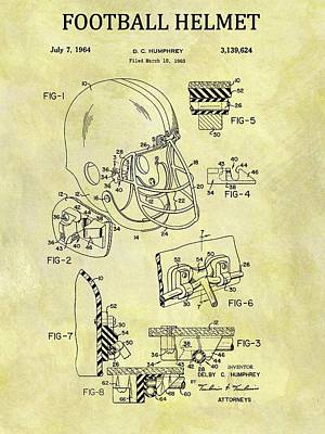 Hall Of Fame Drawing - 1964 Football Helmet Patent by Dan Sproul