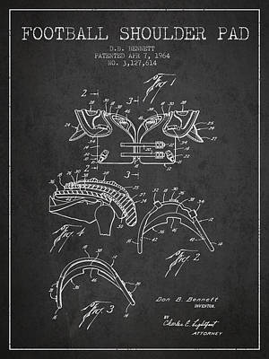 Rugby Digital Art - 1964 Football Shoulder Pad Patent - Charcoal by Aged Pixel