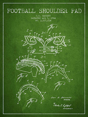 1964 Football Shoulder Pad Patent - Green Art Print by Aged Pixel