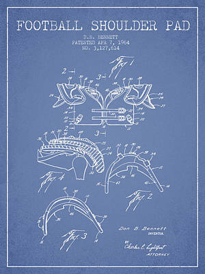 Rugby Digital Art - 1964 Football Shoulder Pad Patent - Light Blue by Aged Pixel