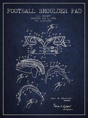 Rugby Digital Art - 1964 Football Shoulder Pad Patent - Navy Blue by Aged Pixel