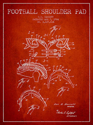 Rugby Digital Art - 1964 Football Shoulder Pad Patent - Red by Aged Pixel