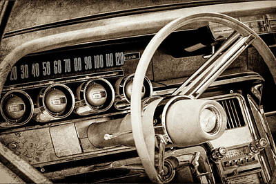 Art Print featuring the photograph 1964 Ford Thunderbird Steering Wheel -0280s by Jill Reger