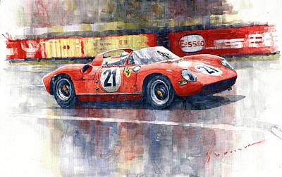 Le Mans 24 Painting - 1964 Lemans 24 Ferrari 275p Ludovico Scarfiotti  by Yuriy Shevchuk