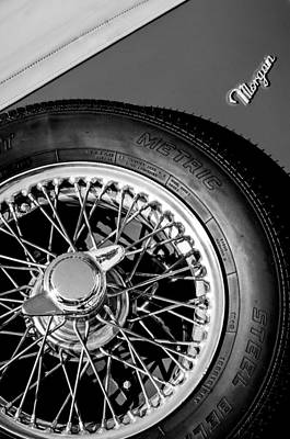 Photograph - 1964 Morgan 44 Spare Tire Black And White by Jill Reger