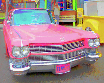 Digital Art - 1964 Pink Cadillac Classic Car by Rebecca Korpita