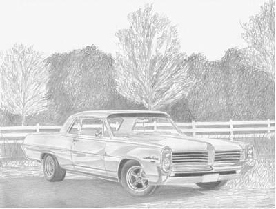 Pontiac Drawing - 1964 Pontiac Catalina Classic Car Art Print by Stephen Rooks