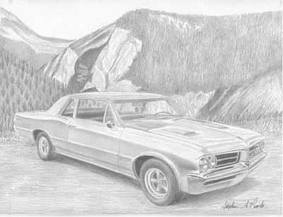 Pontiac Drawing - 1964 Pontiac Gto Muscle Car Art Print by Stephen Rooks