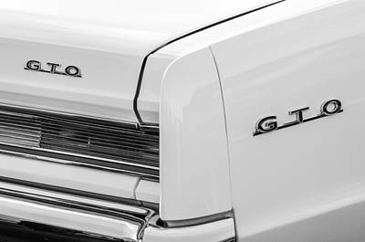 Photograph - 1964 Pontiac Gto Tail Light Emblems -0174bw by Jill Reger