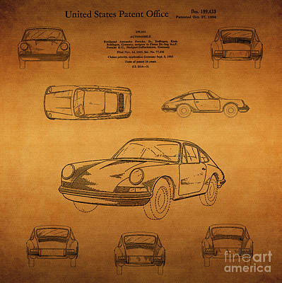 Mercedes Automobile Drawing - 1964 Porsche Car Patent 1 by Nishanth Gopinathan