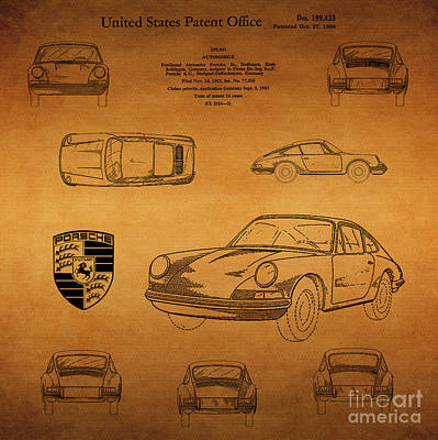 1964 Porsche Car Patent 2 Art Print by Nishanth Gopinathan