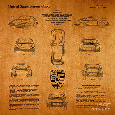Mercedes Automobile Drawing - 1964 Porsche Car Patent 3 by Nishanth Gopinathan