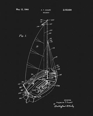 Drawing - 1964 Sailboat Patent by Dan Sproul