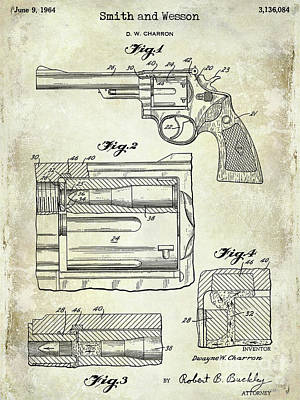 Smith And Wesson Photograph - 1964 Smith And Wesson Gun Patent by Jon Neidert