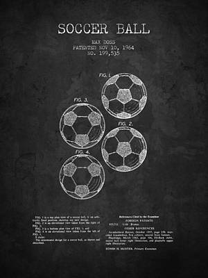 Football Royalty-Free and Rights-Managed Images - 1964 Soccer Ball Patent - Charcoal - NB by Aged Pixel