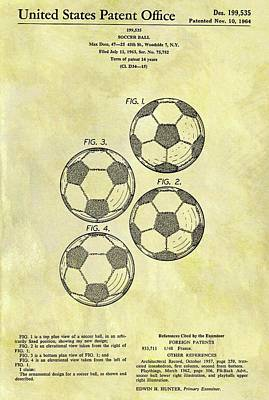 Athletes Drawings - 1964 Soccer Ball Patent by Dan Sproul