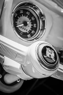 Photograph - 1964 Volkswagen Vw 21-window Bus Steering Wheel Emblem -0447bw by Jill Reger