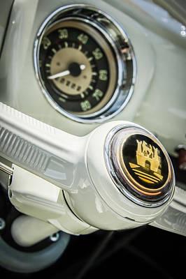 Volkswagen Bus Photograph - 1964 Volkswagen Vw 21-window Bus Steering Wheel Emblem -0447c by Jill Reger