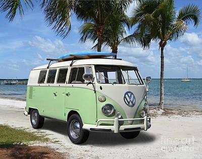 Giuseppe Cristiano - 1965-67 VW Bus on Florida Beach by Ron Long