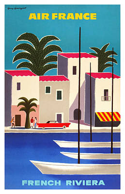 Cannes Digital Art - 1965 Air France French Riviera Travel Poster by Retro Graphics