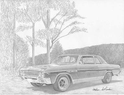 Buick Drawing - 1965 Buick Skylark Gs Muscle Car Art Print by Stephen Rooks