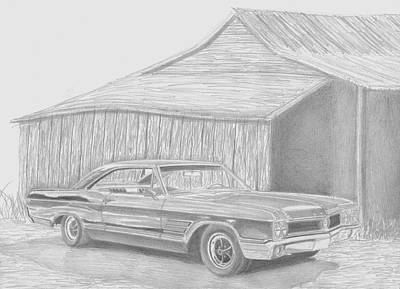 Buick Drawing - 1965 Buick Wildcat Classic Car Art Print by Stephen Rooks