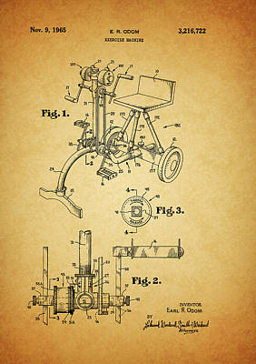Nike Mixed Media - 1965 Exercise Machine Patent by Dan Sproul