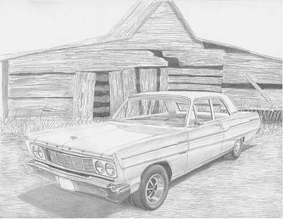 Automotive Drawing - 1965 Ford Fairlane Classic Car Art Print by Stephen Rooks