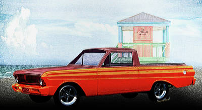 1965 Ford Falcon Ranchero Day At The Beach Art Print by Chas Sinklier