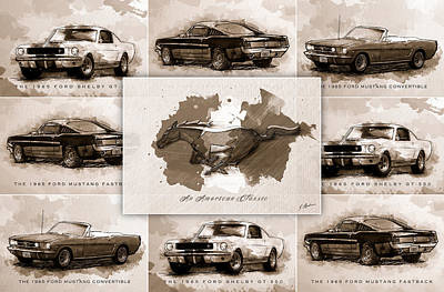 Classic Mustang Car Digital Art - The 1965 Ford Mustang Collage I by Gary Bodnar