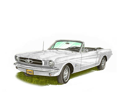 Painting - Ford Mustang Convertible by Jack Pumphrey
