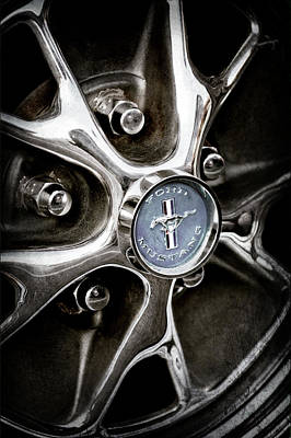 Vintage Ford Mustang Photograph - 1965 Ford Mustang Wheel Emblem -0382ac by Jill Reger