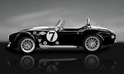Photograph - 1965 Ford Shelby Cobra  -  1965shelbycobrablkwhireflect184000 by Frank J Benz