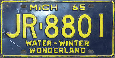 Mixed Media - 1965 Michigan Vintage License Plate by Design Turnpike