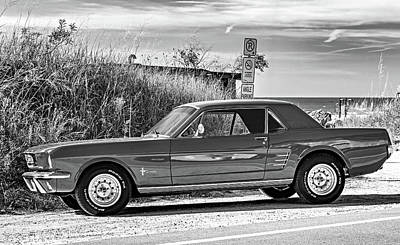 Photograph - 1965 Mustang Bw by Steve Harrington