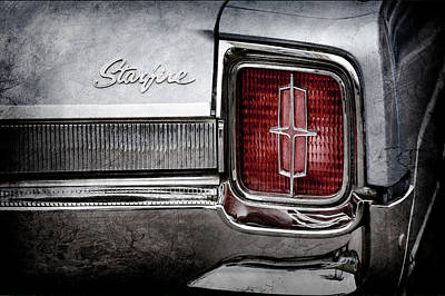 Art Print featuring the photograph 1965 Oldsmobile Starfire Taillight Emblem -0212ac by Jill Reger