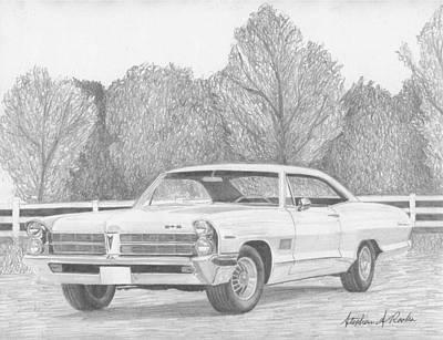 Pontiac Drawing - 1965 Pontiac Catalina Classic Car Art Print by Stephen Rooks