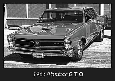 Photograph - 1965 Pontiac G T O Bw by Bill Dutting