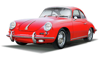 Drawing - 1965 Porshe 356 Sc Coupe by Alain Jamar