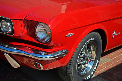 Digital Art - 1965 Red Ford Mustang Classic Car by Toby McGuire