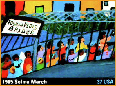 United States Postage Painting - 1965 Selma March by Lanjee Chee