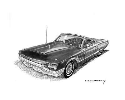 Topless Drawing - 1965 Thunderbird Convertible By Ford by Jack Pumphrey