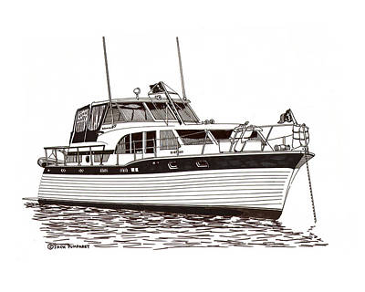 Drawing - 43  Foot Tollycraft Adventure Yacht by Jack Pumphrey