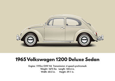 Bug Digital Art - 1965 Volkswagen 1200 Deluxe Sedan - Panama Beige by Ed Jackson